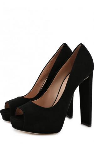 Замшевые туфли на устойчивом каблуке и платформе Giuseppe Zanotti Design. Цвет: черный