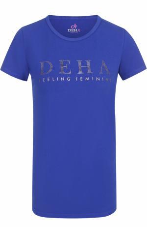Спортивная футболка с контрастной отделкой Deha. Цвет: синий