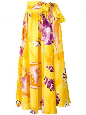 Юбка с завязкой на талии и принтом в виде карпов Jean Louis Scherrer Vintage. Цвет: жёлтый и оранжевый