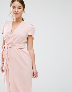 Alter Petite Платье с запахом и поясом. Цвет: розовый