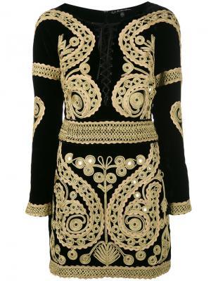 Платье с длинными рукавами и вышивкой For Love And Lemons. Цвет: чёрный