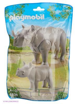Зоопарк: Носорог с носорожком Playmobil. Цвет: серый