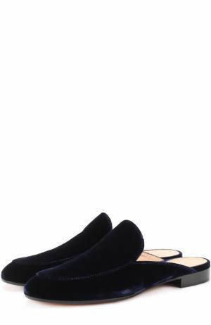 Бархатные сабо Marcel с прострочкой Gianvito Rossi. Цвет: темно-синий