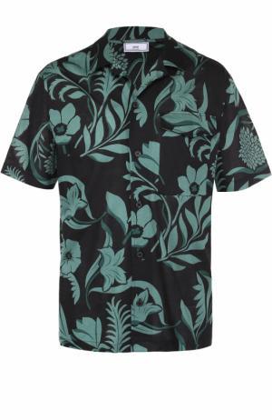 Хлопковая рубашка с короткими рукавами и контрастным принтом Ami. Цвет: зеленый