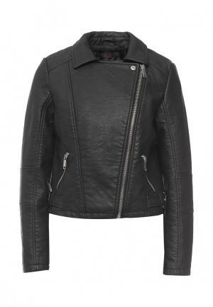 Куртка кожаная Edge Street. Цвет: черный