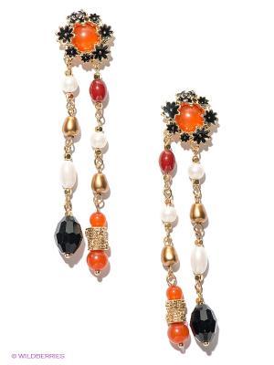 Серьги Milana Style. Цвет: золотистый, белый, оранжевый