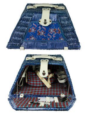 Набор для пикника на 2 персоны Русские подарки. Цвет: синий, красный, белый