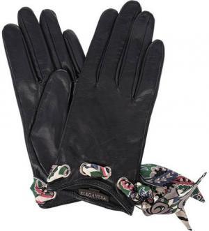 Кожаные перчатки с лентами ELEGANZZA. Цвет: синий