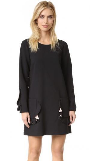Платье с длинными рукавами, карманами и оборками BCBGMAXAZRIA. Цвет: черный/розовый