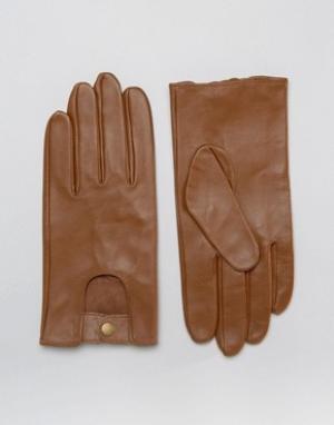 ASOS Светло-коричневые кожаные автомобильные перчатки. Цвет: рыжий