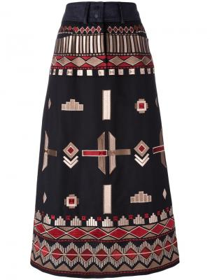 Ethnic embroidery mid skirt Vilshenko. Цвет: чёрный