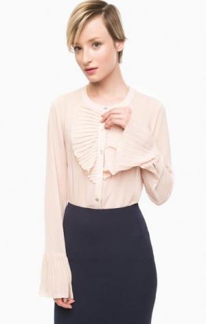 Трикотажная блуза на пуговицах POIS. Цвет: розовый