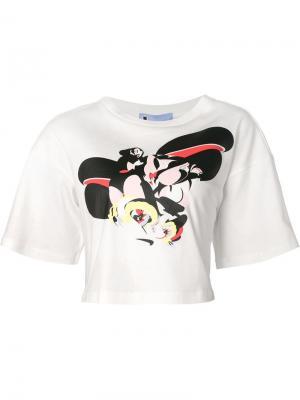 Укороченная футболка с принтом Minjukim. Цвет: белый