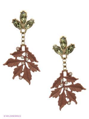 Серьги AVGAD. Цвет: золотистый, зеленый, коричневый