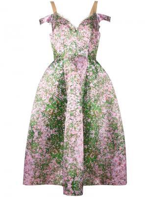 Платье с цветочным принтом Natasha Zinko. Цвет: розовый и фиолетовый