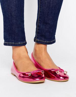 Raid Розовые балетки металлик с бантиками. Цвет: розовый