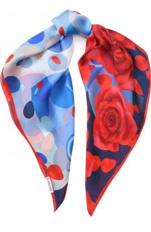Шелковый платок с принтом Il Trenino. Цвет: синий