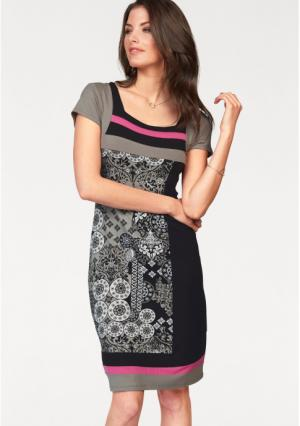 Платье VIVANCE. Цвет: черный/серо-коричневый/белый/ярко-розовый
