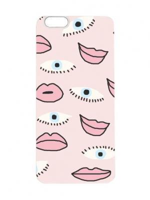 Чехол для iPhone 6Plus Губы и глаза Арт. 6Plus-057 Chocopony. Цвет: голубой, розовый