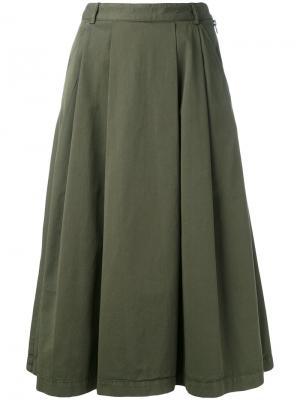 Плиссированная юбка YMC. Цвет: зелёный