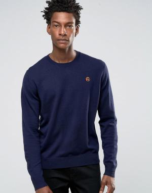 PS by Paul Smith Темно-синий джемпер с круглым вырезом и логотипом. Цвет: темно-синий