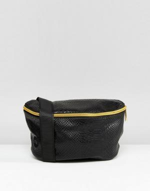 Mi-Pac Черная сумка-кошелек на пояс из искусственной кожи. Цвет: черный