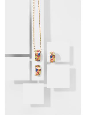 Набор украшений Французская мозаика: цепочка с кулоном и серьги Nothing but Love. Цвет: золотистый, оранжевый, розовый