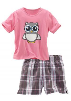 Пижама с шортами PETITE FLEUR. Цвет: белый в клетку, розовый в клетку