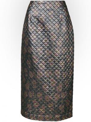 Стеганая юбка-миди Isa Arfen. Цвет: металлический