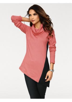 Удлинённый пуловер ASHLEY BROOKE by Heine. Цвет: коралловый/черный