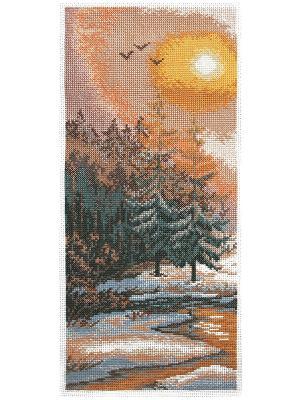 Набор для вышивания счетным крестом Закат на опушке Матренин Посад. Цвет: желтый, зеленый