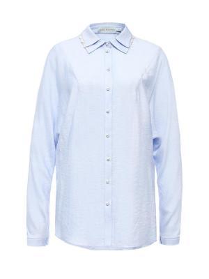 Блуза на пуговицах с кружевным воротником голубая Bella kareema. Цвет: голубой