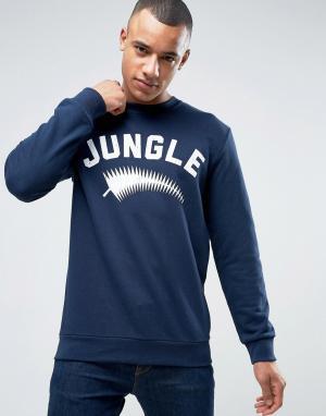 Esprit Свитшот с круглым вырезом и принтом Jungle. Цвет: темно-синий