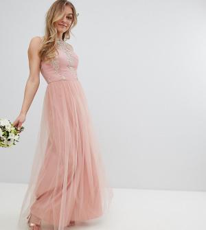 Chi London Petite Платье макси без рукавов с кружевом и юбкой из тюля Pet. Цвет: розовый