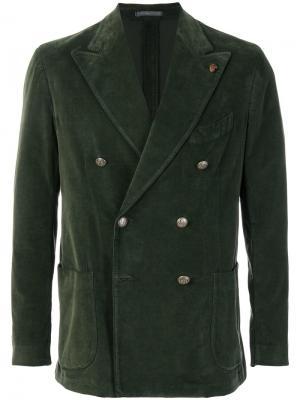 Бархатный пиджак Gabriele Pasini. Цвет: зелёный