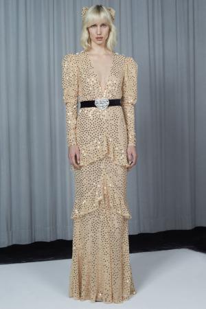 Бежевое платье-макси с пайетками Alessandra Rich. Цвет: бежевый