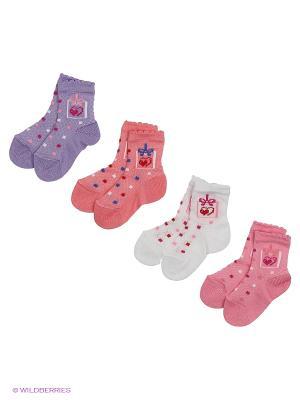 Носки, 4 пары Гамма. Цвет: розовый, белый, коралловый