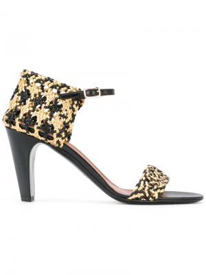 Босоножки с плетением и открытым носком Michel Vivien. Цвет: чёрный
