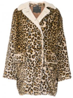 Свободное пальто с леопардовым принтом R13. Цвет: многоцветный