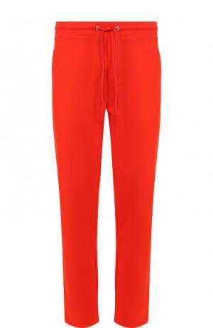 Хлопковые брюки прямого кроя с поясом на кулиске Dirk Bikkembergs. Цвет: красный