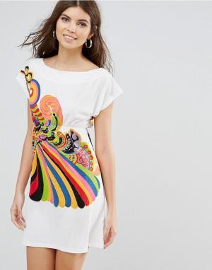 Jasmine Платье-футболка с принтом. Цвет: белый