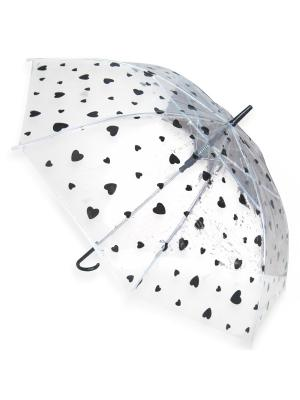 Зонт Сердечки, 53 см. Amico. Цвет: черный,прозрачный