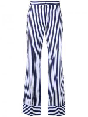Полосатые брюки прямого кроя MSGM. Цвет: синий