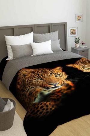 Покрывало Два леопарда Сирень. Цвет: черный