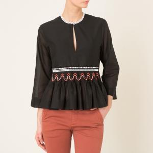 Блузка с длинными рукавами POMANDERE. Цвет: черный