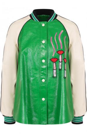 Кожаный бомбер свободного кроя с контрастной вышивкой Valentino. Цвет: зеленый