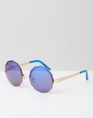 Jeepers Peepers Шестиугольные солнцезащитные очки с синими зеркальными стеклами Jeeper. Цвет: синий