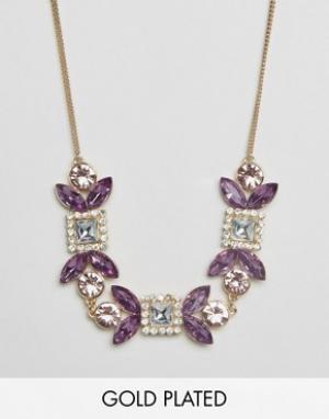 Johnny Loves Rosie Изящное ожерелье с камнями. Цвет: золотой