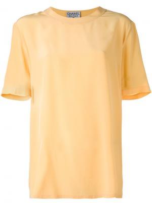 Блузка с короткими рукавами Chanel Vintage. Цвет: жёлтый и оранжевый