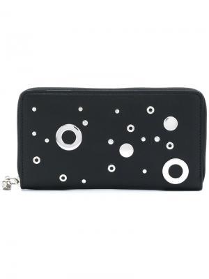 Континентальный кошелек с люверсами и заклепками Alexander McQueen. Цвет: чёрный